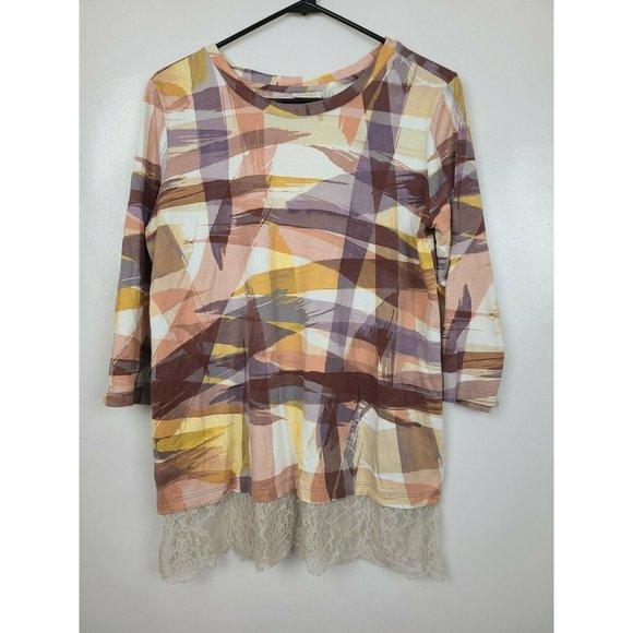LOGO By Lori Goldstein Womens Multi Abstract Printed Lace Hem Tunic Size Medium